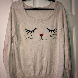 Torrid kitty face sweater EUC size 0